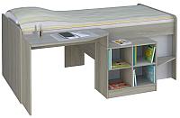 Кровать-чердак Polini Kids Simple 4000 со столом и полками (вяз/белый) -