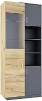 Шкаф с витриной Интерлиния Split SP-ШС-4Д с витриной (дуб корабельный золотой/графит) -