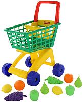 Тележка игрушечная Полесье №7 с набором продуктов / 61911 (зеленый/желтый) -