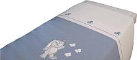 Детское постельное белье Polini Kids Зайки 3 (120x60, голубой) -