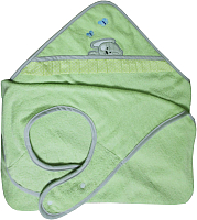 Полотенце с капюшоном Polini Kids Зайки с вышивкой (зеленый) -
