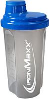 Шейкер спортивный IronMaxx I00003012 (700мл, синий/прозрачный) -
