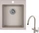 Мойка кухонная Granula GR-4201 + смеситель Spring 35-09L (базальт) -