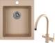 Мойка кухонная Granula GR-4201 + смеситель Spring 35-09L (песочный) -