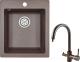 Мойка кухонная Granula GR-4201 + смеситель Spring 35-09L (эспрессо) -