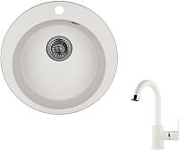 Мойка кухонная Granula GR-4801 + смеситель 35-05 (арктик) -