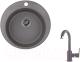 Мойка кухонная Granula GR-4801 + смеситель 35-05 (графит) -