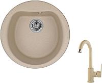 Мойка кухонная Granula GR-5101 + смеситель 35-05 (песочный) -