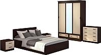 Комплект мебели для спальни Аметиста Ронда Элит (венге/беленый дуб) -