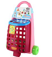 Тележка игрушечная Полесье Забавная с набором продуктов / 67944 -