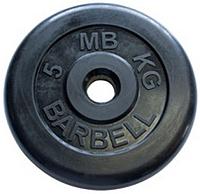 Диск для штанги MB Barbell d26мм 5кг (черный) -