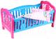 Аксессуар для куклы ТехноК Колыбель с набором постельного белья / 4494 (синий/розовый) -