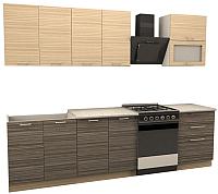 Готовая кухня Иволанд Трейд Зебрано 220-220-60 (светлый/темный) -