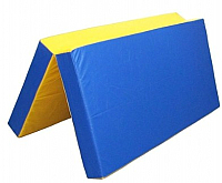 Гимнастический мат KMS sport Складной №3 1x1x0.1м (синий/желтый) -