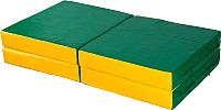 Гимнастический мат KMS sport Складной №11 1x1x0.1м (зеленый/желтый) -