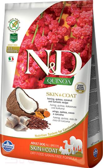 Купить Корм для собак Farmina, N&D Grain Free Quinoa Skin&Coat Herring&Coconut (7кг), Италия