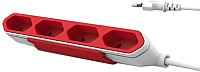 Удлинитель Allocacoc PowerBar 9101/PB4SEU (1.5м, белый/красный) -
