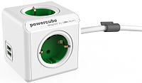 Удлинитель Allocacoc PowerCube Extended USB 1402GN/DEEUPC (1.5м, белый/зеленый) -