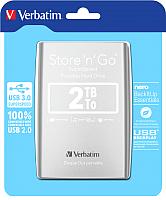 Внешний жесткий диск Verbatim Store 'n' Go 3.0 2TB серебристый (53228) -