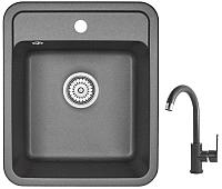 Мойка кухонная Granula GR-4202 + смеситель 35-05 (черный) -