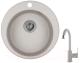 Мойка кухонная Granula GR-4801 + смеситель 35-05 (базальт) -