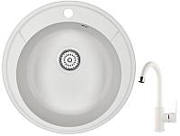 Мойка кухонная Granula GR-4802 + смеситель 35-05 (белый/арктик) -