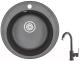 Мойка кухонная Granula GR-4802 + смеситель 35-05 (черный) -