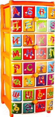 Комод пластиковый Эльфпласт Алфавит 3 (оранжевый) -