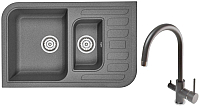 Мойка кухонная Granula GR-7803 + смеситель Spring 35-09/L (графит) -