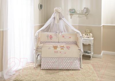 Комплект постельный в кроватку Perina Венеция В7-02.2 (лапушки бежевый) - Фото в интерьере