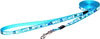 Поводок Rogz Lapz Trendy Lijn Lang Blue Bones M 16мм /RHLL523B -