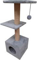 Комплекс для кошек Cat House С двумя полками 1.0 (джут серый) -