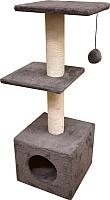 Комплекс для кошек Cat House С двумя полками 1.0 (хлопок серый) -