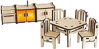 Комплект аксессуаров для кукольного домика Woody Набор мебели. Кухня / 02161 -