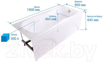 Ванна акриловая Triton Персей 190x90 Базовая (с гидромассажем)