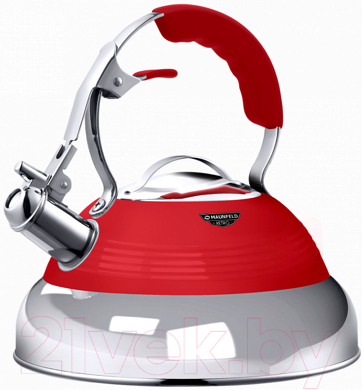 Чайник со свистком Maunfeld, MRK-119R (красный), Китай, нержавеющая сталь  - купить со скидкой