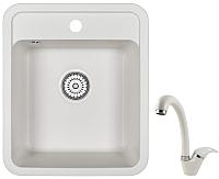 Мойка кухонная Granula GR-4202 + смеситель GR-4003 (белый/арктик) -
