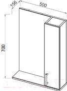 Шкаф с зеркалом для ванной АВН Эко+ 50 / 13.35-01 (3)