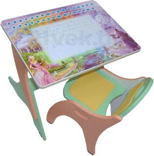 Купить Комплект мебели с детским столом Интехпроект, Зима-лето 14-388 (салатовый и розовый), Россия