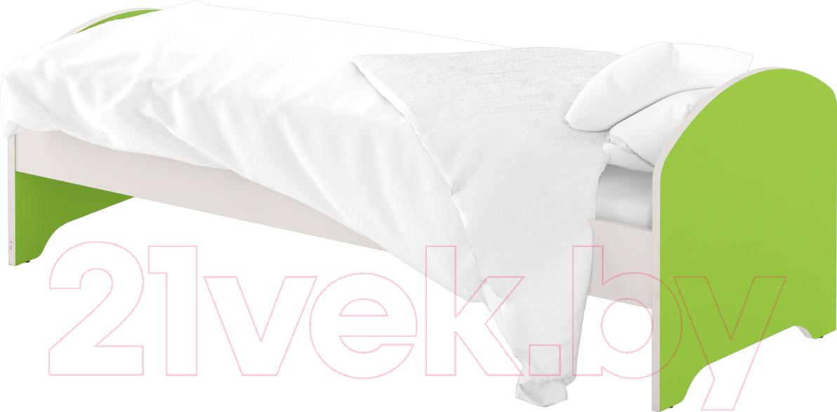 Купить Односпальная кровать Славянская столица, ДУ-КО12-12 (белый/зеленый), Беларусь