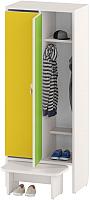 Шкаф для детской одежды Славянская столица ДУ-Ш2 (белый/желтый/зеленый) -