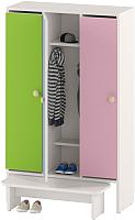 Шкаф для детской одежды Славянская столица ДУ-Ш3 (белый/желтый/зеленый/розовый) -