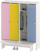 Шкаф для детской одежды Славянская столица ДУ-Ш4 (белый/желтый/зелен/розовый/синий) -