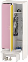Шкаф для детской одежды Славянская столица ДУ-ШР2-1 (белый/розовый/желтый) -