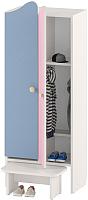 Шкаф для детской одежды Славянская столица ДУ-ШР2-2 (белый/синий/розовый) -