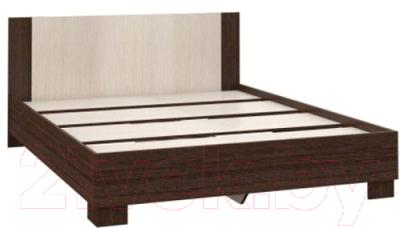 Двуспальная кровать Империал Аврора 160 с основанием (венге/дуб молочный)