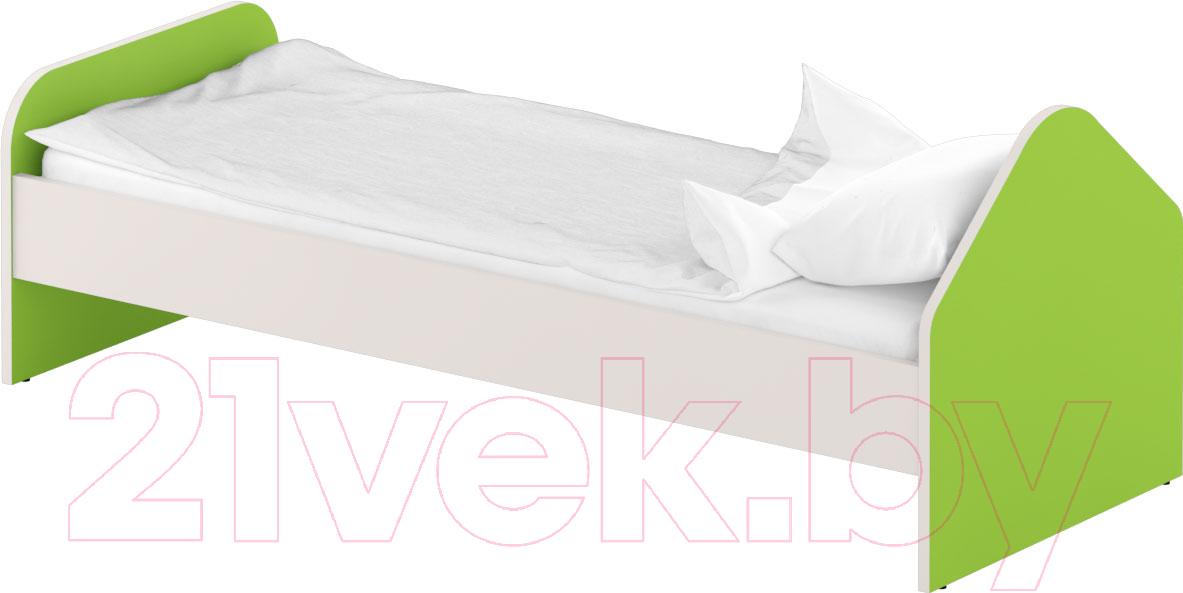 Купить Односпальная кровать Славянская столица, ДУ-КО12-1 (белый/зеленый), Беларусь