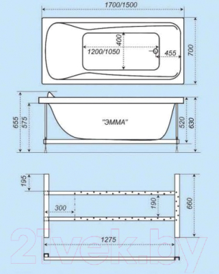 Ванна акриловая Triton Эмма 150x70 Люкс (с гидромассажем)