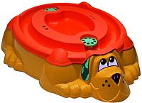 Песочница-бассейн PalPlay Собачка 432 с крышкой (оранжевый/красный) -