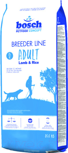 Купить Корм для собак Bosch Petfood, Breeder Adult Lamb&Rice (20кг), Германия